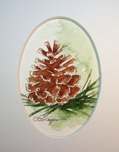 Pine Cone Watercolor Painting by RoseAnnHayes on Etsy