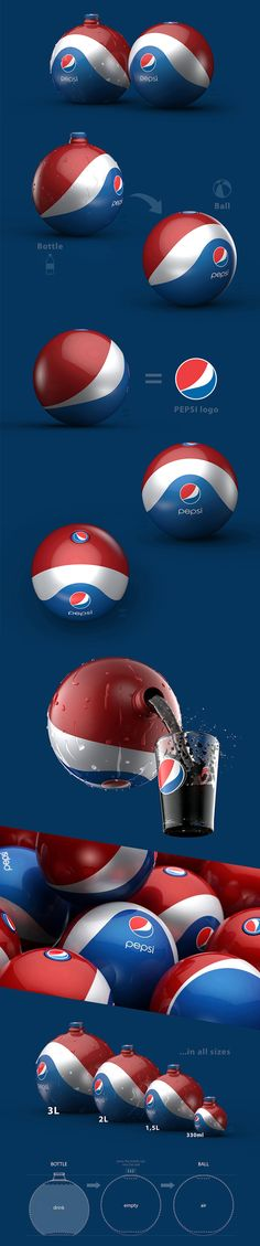 Pepsi Rubber Ball / Bottle is a concept packaging design with the main idea of having a bottle that you can turn into a ball when it's empty. It means a multipurpose packaging that wouldn't end up as a trash, but you would have a ball for playing ....a lot of them actually!   So, your kids or pats could play with it all around (backyard, street, swimming pool, beach, etc.) For Pepsi this would mean a great and free advertising as well - all around and everywhere!