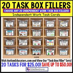 TASK BOX FILLERS Task Card Sets for Independent Work Task System for Autism This has worked so incredibly well for my kids this year, that I knew I had to share it with you! Life Skills Classroom, Autism Classroom, Special Education Classroom, Math Skills, Social Skills, Classroom Ideas, Autism Education, Reading Skills, Music Education