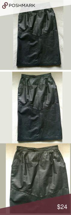 Evan Davies leather skirt Long Napa leather  Vintage  Bottom back split Perfect condition evan davies Skirts
