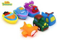 Little Treasures Land Water Air Mania  Baby bath toy set for 18 months toddlers train helicopter airplane hovercraft tug boat and motorboat * See this great product.