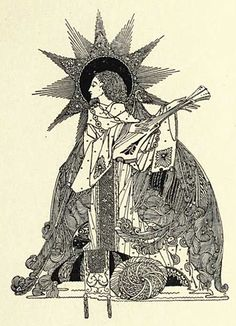 Illustration for 1920 poetry collection, The Year's at the Spring, by Harry Clarke. Harry Clarke, Ink Illustrations, Children's Book Illustration, Pop Art, Dark Harry, Art Nouveau, Aubrey Beardsley, Irish Art, Arts And Crafts Movement