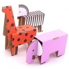 I just love this Fold Up Animal Parade. Cardboard Animal Paper Toy Craft Kit – DIY Cardboard Animals for Kids