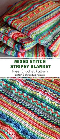 Mixed Stitch Stripey Blanket Free Crochet Pattern - - You are in the right place about Knitting Techniques cast off Here we offer you the mo Crochet Hooks, Free Crochet, Knit Crochet, Scrap Yarn Crochet, Crochet Crowd, Crochet Humor, Crotchet, Double Crochet, Crochet Bikini