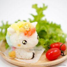 Kawaii My little Unicorn Onigiri Rice Ball - Japanisches Essen - Bento Ideas Bento Kawaii, Cute Bento, Japanese Food Art, Japanese Sweets, Japanese Cake, Cute Food, Yummy Food, Kawaii Cooking, Unicorn Foods