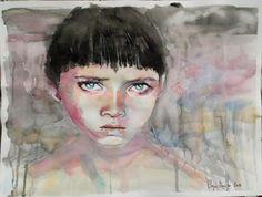 little boy wattercolor portrait