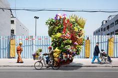 Le photographeAlain Delorme a réalisé ces «totems» en faisant poser des transporteurs chinois de Shangai avec une cargaison d'objets made in china empilée sur leurs mobylettes ou leurs tricycles.