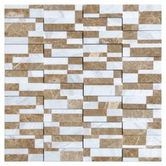 Domino White Brick Pattern Glass and Marble Mosaic Tile #domino_white_marble_tile #glass_mosaic_tile