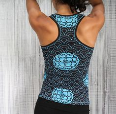 Women's Racerback Tank, Custom printed fabric, 'Kimono Print Tank'- TURQUOISE - Yoga wear, fitness, dance, gym on Etsy, $39.22 CAD