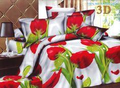Biała pościel z mikrowłókna w czerwone tulipany