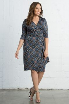 Our Tile Mix Print plus size Ciara Cinch Dress is a great print to wear to work. Sophisticated and classy. Shop our entire made in the USA collection and see more style inspiration online at www.kiyonna.com.