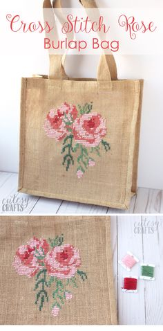 Free pattern for a Cross Stitch Burlap Bag - learn how to cross stitch a rose on a burlap bag Learn how to cross stitch burlap with this free rose cross stitch pattern. Decorate a burlap bag with cross stitch roses. A free rose cross stitch pattern. Cross Stitching, Cross Stitch Embroidery, Embroidery Patterns, Cross Stitch Patterns, Hand Embroidery, Flower Embroidery, Machine Embroidery, Easy Sewing Projects, Sewing Projects For Beginners