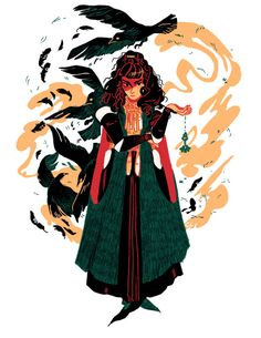 """celialowenthal: """"A little bird told me it was witchsona week! Character Drawing, Character Illustration, Character Concept, Concept Art, Illustration Art, Animal Illustrations, Pretty Art, Cute Art, Potnia Theron"""