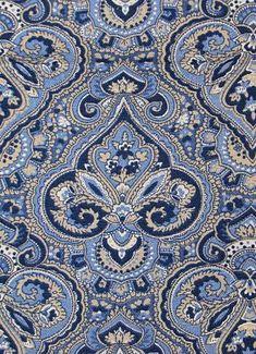 Paris Paisley Indigo Fabric for bench cushion