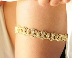 Gold Diamond Wedding Garter - Rhinestone set in a gold or silver garderbelt band, bling garter, Winter snowflake garter, wedding garder