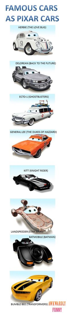 Funny picture: Famous Cars as Pixar Cars >> My sister said Bumble bee would have a more childish smile though. Disney Cars, Disney Movies, Kitt Knight Rider, Univers Dc, Amazing Cars, Awesome, Car Photos, Car Illustration, Custom Cars