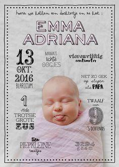 schattig geboortekaartje meisje, wordt op maat gemaakt (dus je kunt zelf een foto en teksten aanleveren!), vintage, grappig, alternatief