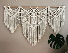 Large macrame wall hanging Modern macrame tapestry for boho home or wedding decor (no title) Tapestry, bedding art, macrame headboard, modern woven decor, bohemian wall artOver bed art macrame headboard modern woven decor bohemian Diy Macrame Wall Hanging, Macrame Art, Macrame Projects, Macrame Knots, Macrame Mirror, Macrame Curtain, Modern Macrame, Modern Bohemian, Bohemian Decor