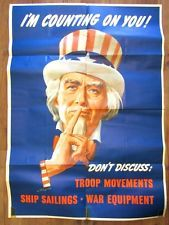 WWII Uncle Sam I'm Counting On You Don't Discuss L. Helguera 1943 Orig Poster LG #WWI #Poster #UncleSam #Propaganda #Helguera