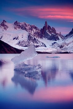 ✮ Cerro Torre, Los Glaciares, Patagonia - Argentina. Love those ice blocks floating on Laguna Torre...