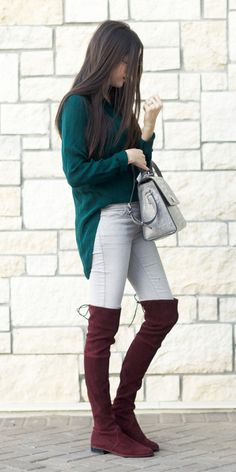 29b6f86b92f Get in the spirit with rich holiday colors in the form of an emerald green  silk shirt and deep burgundy over-the-knee boots. Click to see more boots.