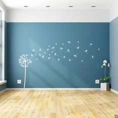 "Pusteblume Wandtattoo ""Sophia"" mit 31 DIY schwimmenden Samen Aufkleber – Dandelion wall sticker ""Sophia"" with 31 DIY floating seeds sticker – #"