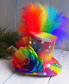 Mini Top Hat Headband Rainbow Mini Top Hat Mad Hatter Hat Tea Party Hat Alice in Wonderland Top Hat Fascinator Rainbow Mini Hat Baby Shower Crazy Hat Day, Crazy Hats, Mad Hatter Hats, Mad Hatter Tea, Mad Hatters, Christmas Tops, Christmas Hat, Sombreros Fascinator, Baby Hut
