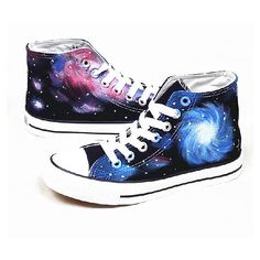 Galaxy Converse shoes Custom Converse Galaxy Converse Sneakers... ($60) ❤ liked on Polyvore featuring shoes, sneakers, converse, trainers, waterproof footwear, print shoes, acrylic shoes, print sneakers and lucite shoes