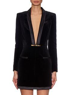V-neck velvet dress | Balmain | MATCHESFASHION.COM UK