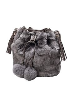 Pompon Tassel Furry Bucket Bag - GRAY Luxury Handbags, Purses And Handbags,  Designer Handbags 552d4f4a70