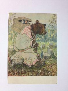 Vintage 1955 post card - middle century greeting card - fairytail bear basket Masha - multicolour - USSR Russia soviet - europeanstreetteam