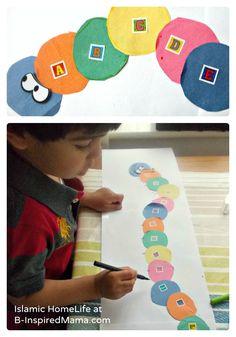 An Very Hungry Caterpillar Craft for Alphabet Learning [From the Mamas] - #kids #kidscraft #alphabet #preschool