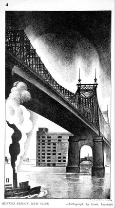Queens Bridge, New York, lithograph by Louis Lozowick, New Masses , May 1930 #lithograph #nyc #lozowick #newyork