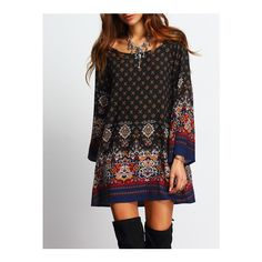 SheIn(sheinside) Scoop Neck Bell Sleeve Vintage Print Shift Dress ($18) ❤ liked on Polyvore featuring dresses, multicolor, vintage day dress, short shift dress, long sleeve dress, peasant dress and long-sleeve maxi dress