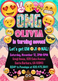 Invitación del cumpleaños de Emoji  Emoji iconos por PrintableETC