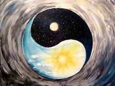 Oil Painting Yin And Yang  Original Black by ArtonlineGallery, $170.00