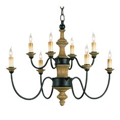 Wrought Iron and Wood Chandelier by Currey and Company.