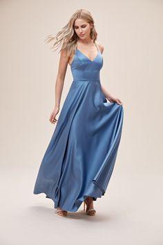 Spaghetti Strap Satin A-Line Bridesmaid Dress Satin Bridesmaid Dresses, Wedding Dresses, Bridesmaids, Amelie, Blue Satin, Gowns, Bridal, Elegant, Formal Dresses