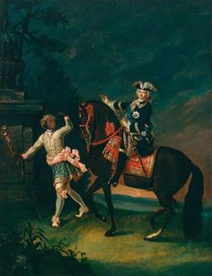 Equestrian Portrait of Empress Elisabeth of Russia with a Black Servant by Georg Christoh Grooth, 1743