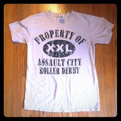 Assault City Roller Derby Gray T-Shirt Size S 100% perfect condition!  Purchased from The Assault City Roller Derby in Syracuse, NY.  Size = Small.  Basic Gildan 50/50 brand shirt.  Please let me know if you have any questions!  Happy Poshing. Gildan Tops Tees - Short Sleeve