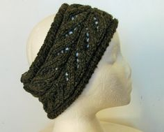 Hand knit Earwarmer Leaf lace by Woolrush on Etsy