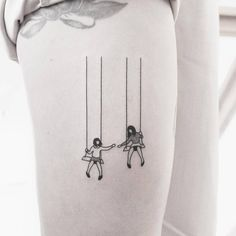 Swing tattoo on the right thigh (based on client reference). Tattoo Artist: Brendon · Welfare Dentist