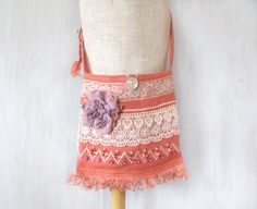 Bohemian Gipsy Crossbody Bag with Lace, Feminine Romantic Bag Coral Pink and White, Dirty Pink, Hippie Fringe Crossbag Purse, Textile Flower - pinned by pin4etsy.com