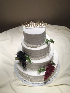 Wedding at The Fez-AMORE- 3 tiered round with full grape accents