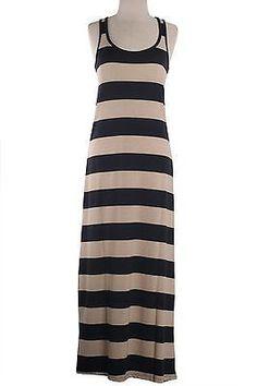 Scoop Neck Sleeveless Thick Stripe Racerback Summer Maxi Dress Full Length