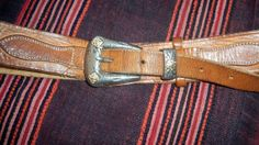 Natural Leather French Belt- Artisan Handmade - Hammered Eagle & Mountains on Leather- Silver Buckle - Vintage 70s - Waist 31/34 in.