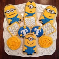 Cookies for Granddaughters Birthday Despicable Me Party, Minion Party, Minions, Cookies For Kids, Cut Out Cookies, Rose Cookies, Sugar Cookies, 3rd Birthday Parties, 2nd Birthday