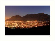'Cape Town City Lights' Art Print by Roxanne du Preez Thing 1, Light Art, Colour Images, City Lights, Sell Your Art, Cape Town, Large Prints, Print Design, Vibrant Colors