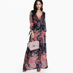 Elegant Floral Split Sleeve Open Back Wrap Boho Beach Maxi Dress - Uniqistic.com