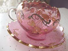Antique 1920 Moser pink glass tea cup set by ShoponSherman on Etsy
